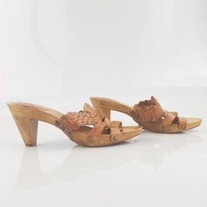 Frye brown braided slides/mules size US 8.5